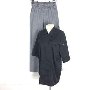 Chef uniform outfit size M mens L ladies checkered